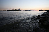 A cargo ship passes on the Mississippi River on August 26 2015 in New Orleans Louisiana New Orleans is ringed by hundred of miles of levees to...