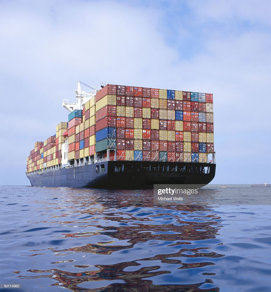 Cargo ship transporting containers
