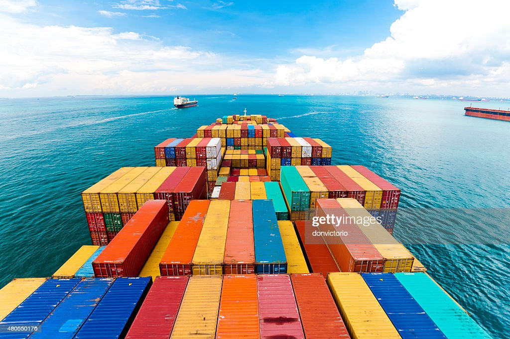 Cargo ships entering the busiest port - Singapore. : Stock Photo