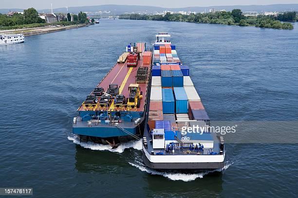 Cargo ships on Rhine river