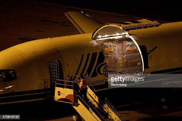 Cargo sits inside an aircraft on the tarmac during ground operations at the Central Asia Hub of DHL Worldwide Express a unit of Deutsche Poste AG in...