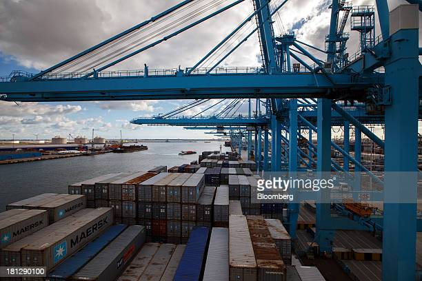 Cargo sits on the container ship Maersk Seoul operated by AP MoellerMaersk A/S at the APM Terminal in Port of Rotterdam in Rotterdam Netherlands on...