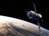 Cargo Spacecraft Orbiting Earth. Realistic 3D Scene.