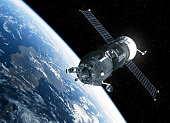 Cargo Spacecraft Orbiting Earth. 3D Scene.