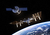 Cargo Spaceship Is Preparing To Dock With Space Station. 3D Illustration. NASA Images Not Used.