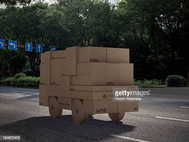 Cargo truck made out of cardboard boxes