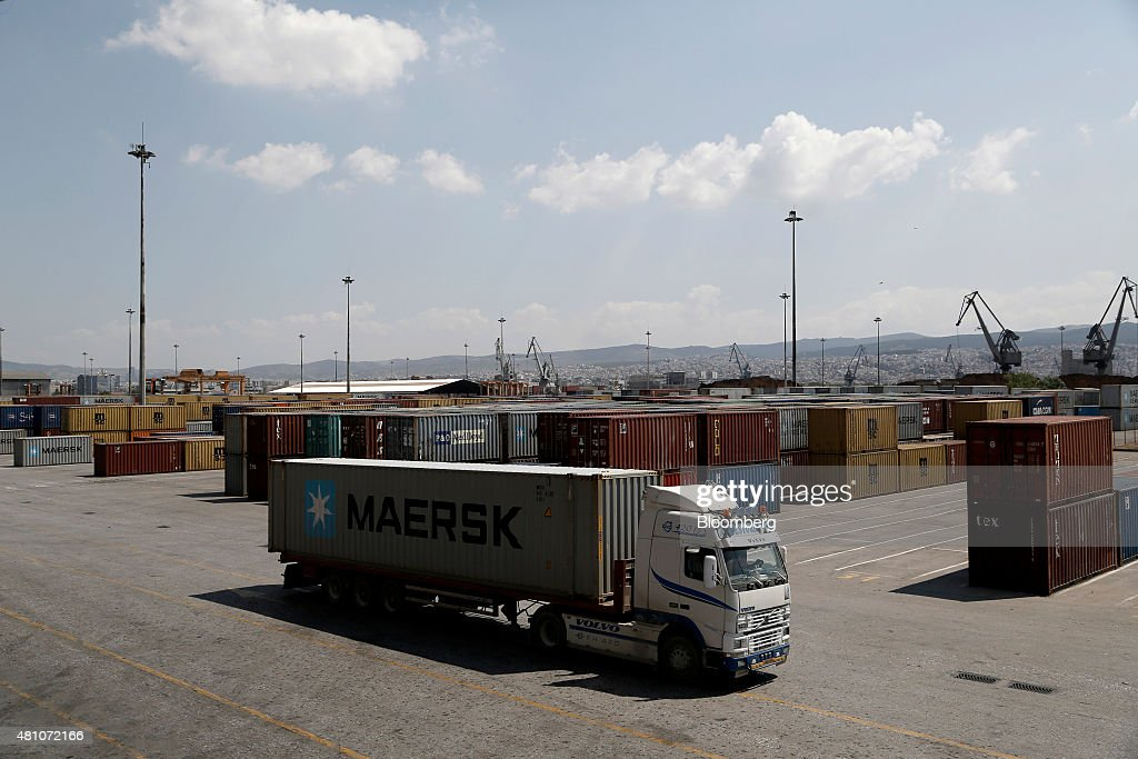 A cargo truck transports a AP MoellerMaersk A/S shipping container on the dockside at Thessaloniki port operated by Thessaloniki Port Authority SA in...