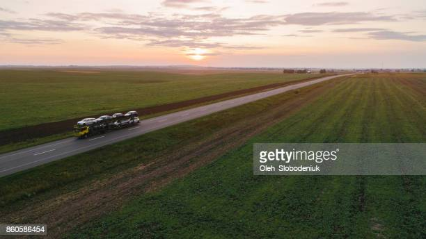 Cargo trucks on the road in countryside in Ukraine