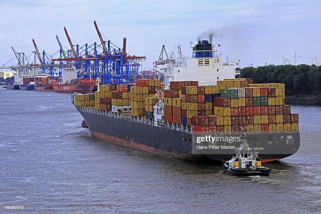 cargo vessels, Elbe river, Germany