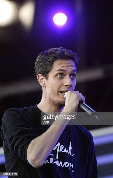 French slammer Grand Corps Malade performs on the stage of the 'Vieilles Charrues' music festival 22 July 2007 in Carhaix western France AFP PHOTO...