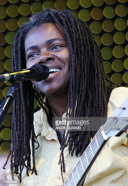 US singer Tracy Chapman performs during the 15th edition of the Vieilles Charrues Music Festival 23 July 2006 in CarhaixPlouguer western France AFP...