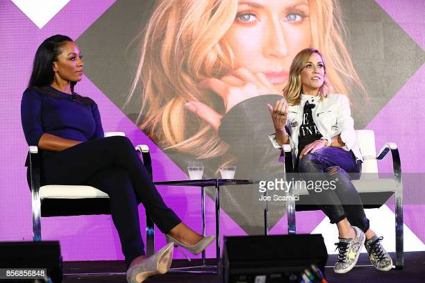 Cari Champion and Sheryl Crow speak onstage at the 8th Annual espnW Women Sports Summit at Resort at Pelican Hill on October 2 2017 in Newport Beach...