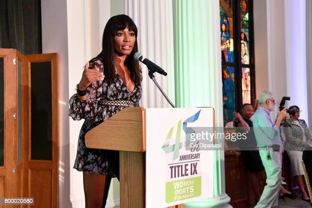 Cari Champion speaks onstage during the Women's Sports Foundation 45th Anniversary of Title IX celebration at the NewYork Historical Society on June...
