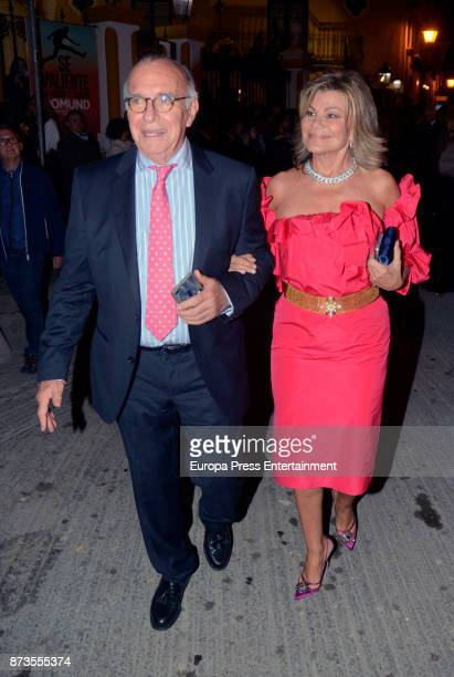 Cari Lapique and Carlos Goyanes attend Yeyes Manzanares and Guillaume Cazelle's wedding at Basilica de La Macarena on November 11 2017 in Seville...