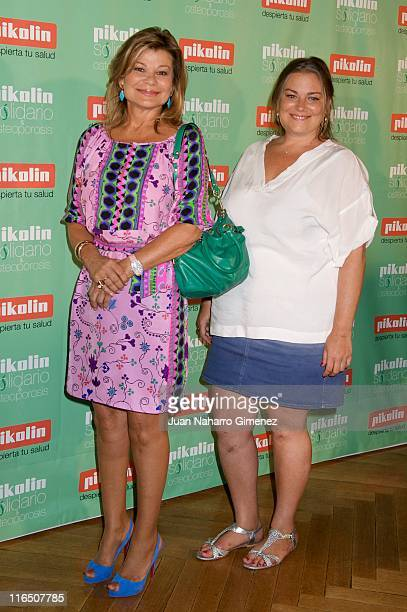 Cari Lapique and her daughter Caritina Goyanes attend 'Pikolin Charity Matress' presentation at Santo Mauro on June 16 2011 in Madrid Spain
