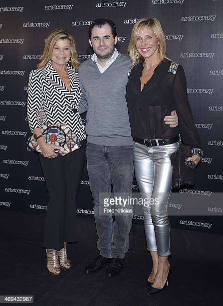 Cari Lapique Emiliano Suarez and Marta Robles attend 'Aristocrazy' after fashion show party at Luzi Bombon on February 14 2014 in Madrid Spain