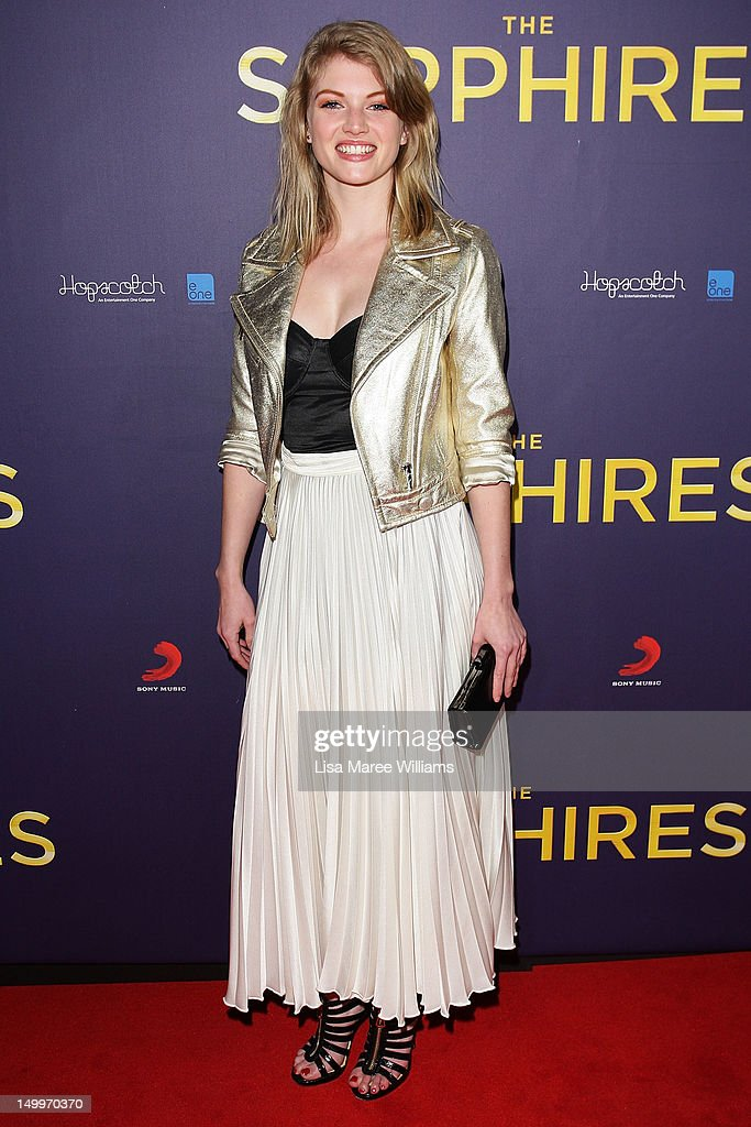 Cariba Heine poses on the red carpet at the Sydney Premiere of The Sapphires at State Theatre on August 8, 2012 in Sydney, Australia.