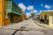 Caribbean, Antilles, Lesser Antilles, Barbados, Bridgetown, street and houses