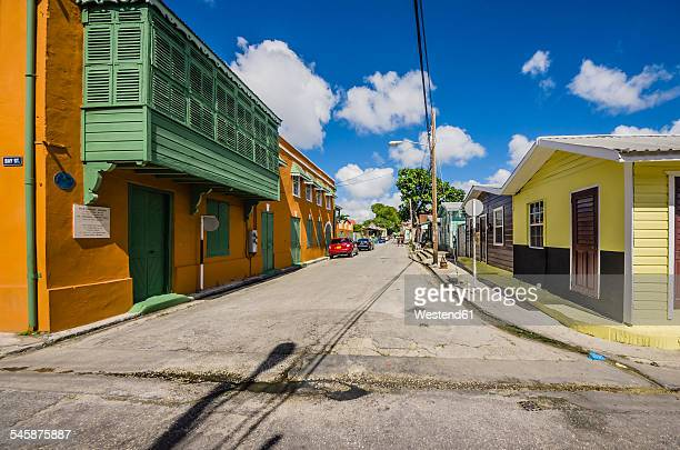 Caribbean, Antilles, Lesser Antilles, Barbados, Bridgetown, street and houses