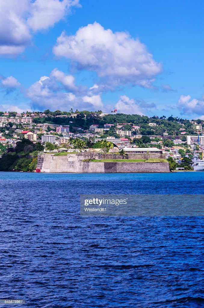 Caribbean, Antilles, Lesser Antilles, Martinique, Fort-de-France, View to city and fort