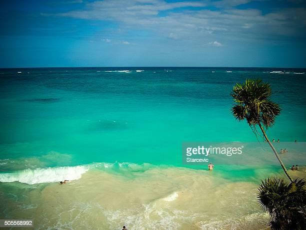 Scène de plage des Caraïbes-Tulum, Mexique