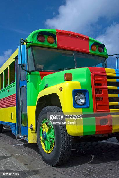 Caribbean bus in rasta colors