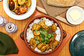 Caribbean Chicken Curry with Roasted Plantain and Coconut Rice