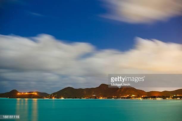 Caribbean Coastline At Night