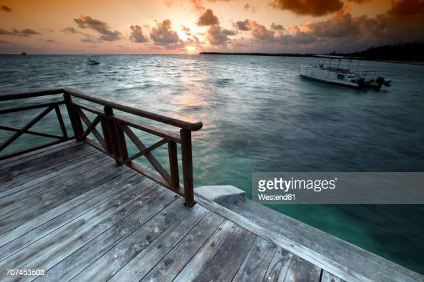 Caribbean, Dominican Republic, jetty at Bavaro Beach at sunrise