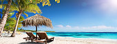Chairs And Umbrella In Tropical Beach - Seascape Banner