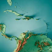 3D Render of a Topographic Map of the Caribbean Sea, Central America. All source data is in the public domain. Color texture and Rivers: Made with Natural Earth.  http://www.naturalearthdata.com/downl