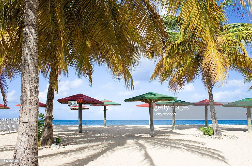 Caribbean sea, Antigua, wooden parasols and palms on beach