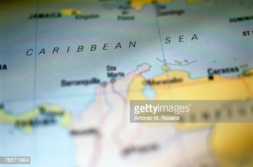 Caribbean Sea on map : Foto stock
