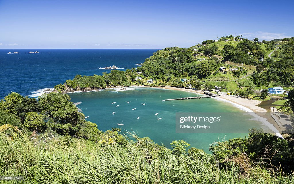 Caribbean Sea turquoise calm water boats Tobago