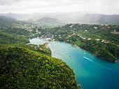 Caribbean, St. Lucia, aerial photo of Marigot Bay