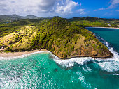 Caribbean, St. Lucia, aerial view of Epouge Bay and Plantation Bay