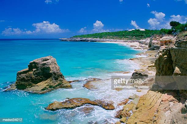 Caribbean, St. Martin, Cupecoy Beach, Rock Formation in a sea