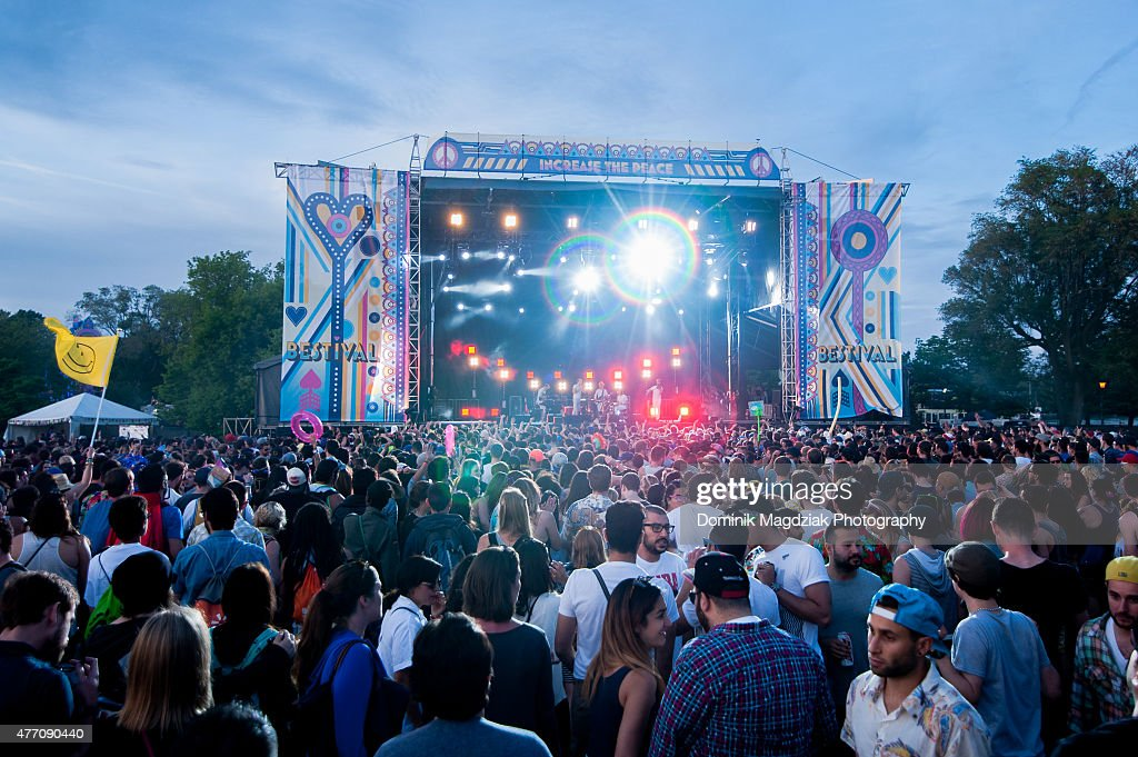 Caribou featuring Owen Pallett performing on the main stage during day two of the Bestival music festival at Toronto Island on June 13 2015 in...