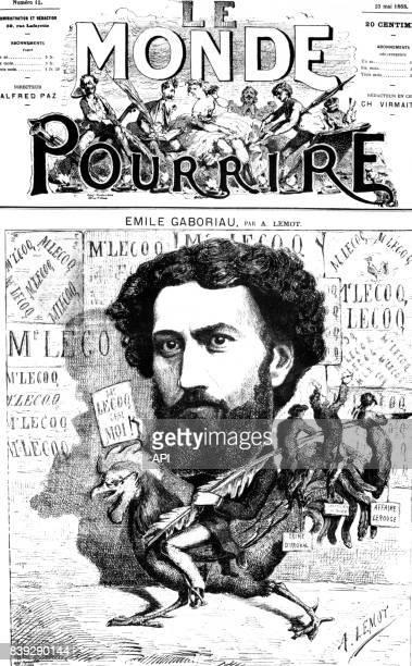 Caricature de l'écrivain français Emile Gaboriau en couverture du numéro 12 du journal 'Le Monde pour Rire' paru le 23 mai 1868 en France