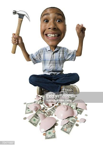 Caricature of a boy holding a hammer with a broken piggy bank in front of him