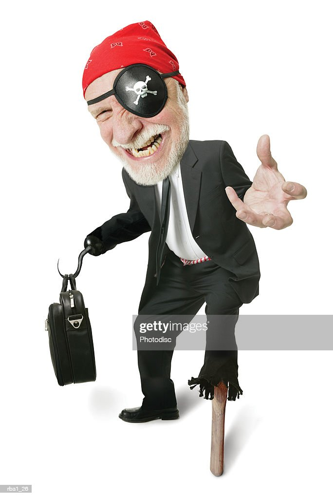 caricature of a caucasian business man as a corporate pirate complete with eye patch and peg leg : Stock Photo