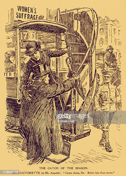WWI Caricature of a female bus conducto era helping Lord Asquith onto a bus Caption reads 'Conductorette 'Come along sir Better late than never'...