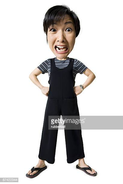 Caricature of a mid adult woman standing and shouting