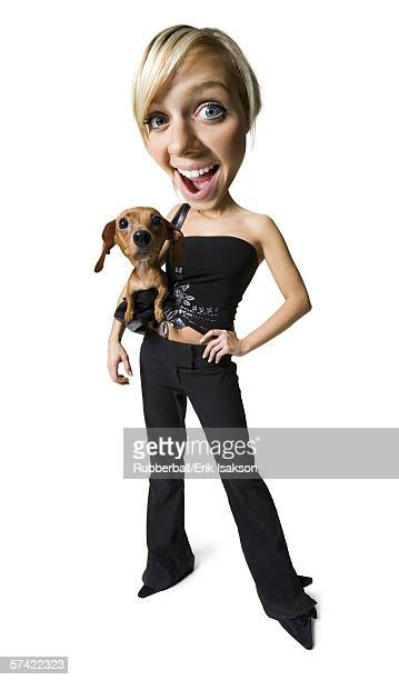 Caricature of a young woman standing with her dog