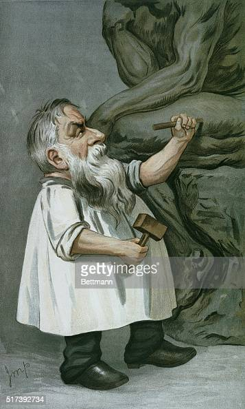 A caricature of August Rodin working on The Thinker from a 1904 edition of Vanity Fair