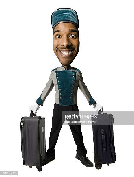 Caricature of bellboy with luggage smiling