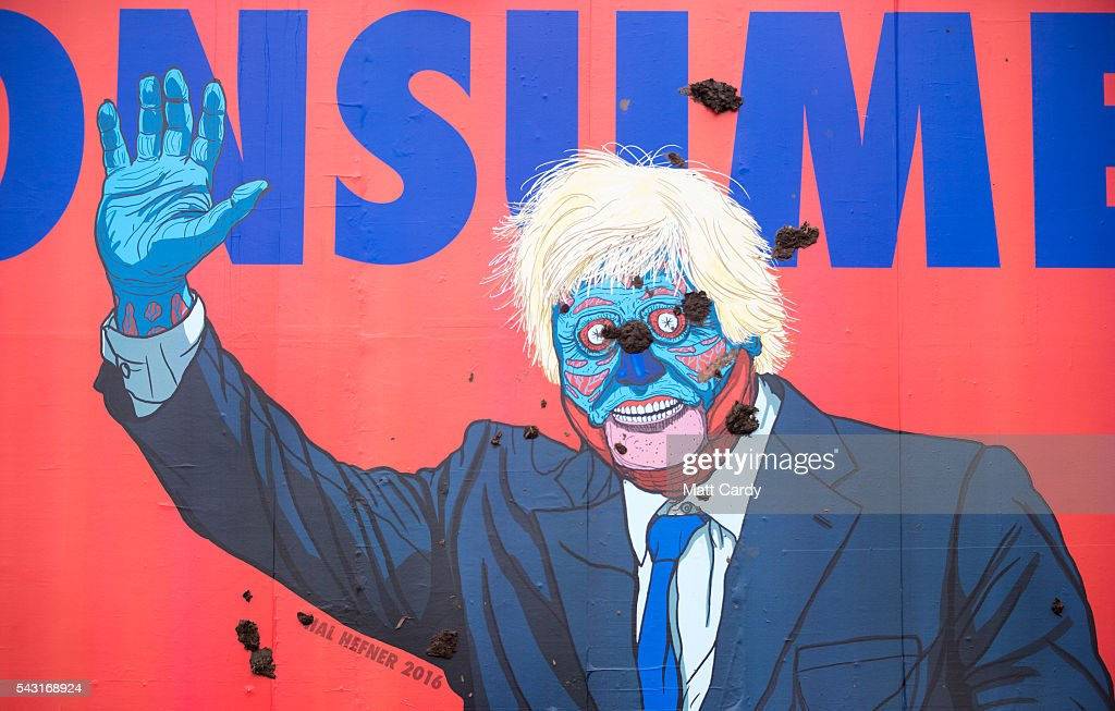 A caricature of Boris Johnson is splattered with mud at the Glastonbury Festival 2016 at Worthy Farm, Pilton on June 25, 2016 near Glastonbury, England. The Festival, which Michael Eavis started in 1970 when several hundred hippies paid just £1, now attracts more than 175,000 people.