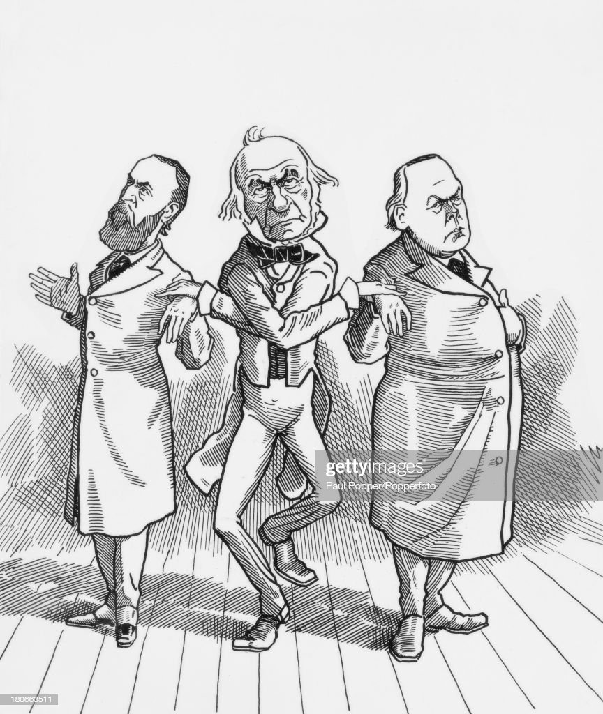 A caricature of British Prime Minister <a gi-track='captionPersonalityLinkClicked' href=/galleries/search?phrase=William+Ewart+Gladstone&family=editorial&specificpeople=213565 ng-click='$event.stopPropagation()'>William Ewart Gladstone</a> (1809 - 1898, centre) hand in hand with Irish nationalist leader <a gi-track='captionPersonalityLinkClicked' href=/galleries/search?phrase=Charles+Stewart+Parnell&family=editorial&specificpeople=205088 ng-click='$event.stopPropagation()'>Charles Stewart Parnell</a> (1846 - 1891, left) and MP and political activist <a gi-track='captionPersonalityLinkClicked' href=/galleries/search?phrase=Charles+Bradlaugh&family=editorial&specificpeople=931899 ng-click='$event.stopPropagation()'>Charles Bradlaugh</a> (1833 - 1891) of the National Secular Society, circa 1886. Gladstone won his third term as Prime Minister with support from the Irish Nationalists, who were in turn supported by Bradlaugh.