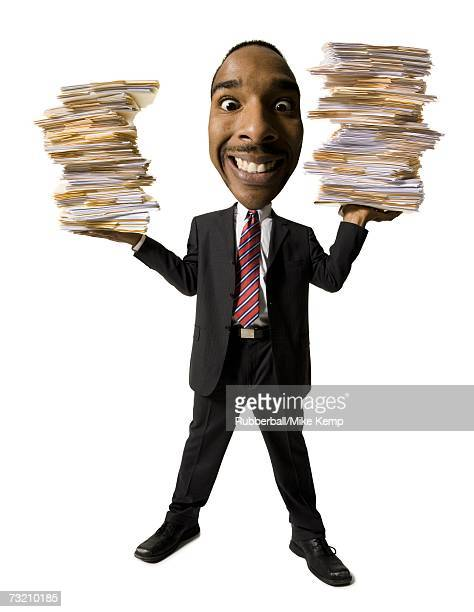 Caricature of businessman with stacks of paperwork