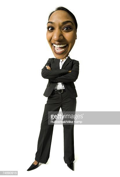 Caricature of businesswoman with arms crossed smiling